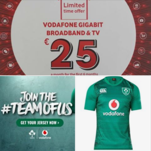 Free Ireland rugby jersey with Vodafone Gigabit broadband